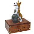 Welsh Corgi Pembroke figurine with engraved wooden urn