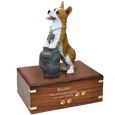 Welsh Corgi Pembroke figurine with gold engraved wooden urn