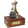 Welsh Corgi Pembroke figurine wood urn with engraved plaque