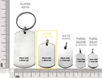 standard dog tag no chamber size compared to other dog tag styles