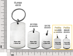 petite dog tags shown with other dog tag styles for size comparison