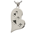 Wholesale Silver Flat Teardrop Heart with engraved drawing