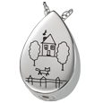 Wholesale Silver Compartment Teardrop Jewelry front- Drawing