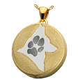 Gold-plated Round Actual Pawprint & Silhouette with compartment