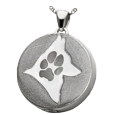 Silver Round Actual Pawprint & Silhouette shown in compartment
