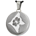 Stainless Steel Round Actual Pawprint & Silhouette with compartment