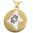 Gold-plated Flat Round Actual Pawprint & Silhouette