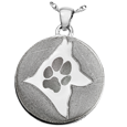 Silver Flat Round Actual Pawprint & Silhouette