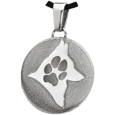 Stainless Steel Flat Round Actual Pawprint & Silhouette