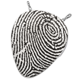 Wholesale Fingerprint Cremation Jewelry: Guitar Pick shown in silver