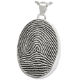 Silver Oval Full-coverage Fingerprint Jewelry with compartment