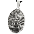 Stainless Steel Oval Full-coverage Fingerprint Jewelry with compartment