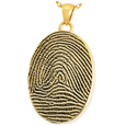 Gold-plated Oval Full-coverage Fingerprint Jewelry with compartment