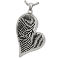 Teardrop Heart Full-coverage Fingerprint Jewelry chamber silver
