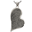 Teardrop Heart Full-coverage Fingerprint Jewelry no chamber silver