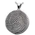 Silver Round Full-coverage Fingerprint Jewelry with chamber