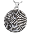 Silver Flat Round Full-coverage Fingerprint Jewelry