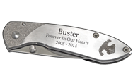 Wholesale Noseprint Stainless Steel Pocket Knife shown engraved