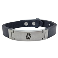 actual paw print engraved on stainless steel + leather bracelet