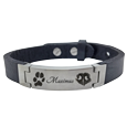 paw print, pet name and nose print engraved on stainless steel bracelet