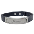 pet name engraved in script font on stainless steel leather bracelet