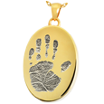 Wholesale B&B Gold Oval Handprint Jewelry with compartment