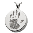 Silver Round Handprint Jewelry with chamber