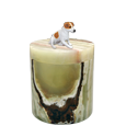 marble pet urn with jack russell terrier dog figurine
