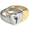 Wholesale Bold Heart Footprint Ring in silver or gold