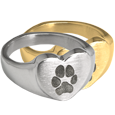 Wholesale Bold Heart Ring with actual Pawprint in silver or gold