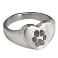 Heart Ring with actual Pawprint in silver