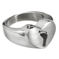 Wholesale Bold Heart Footprint Stainless Steel Ring with compartment