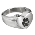 Heart Ring with actual Pawprint in stainless steel