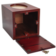 Urn opening shown of Wholesale Cherry Finish Urn with Oval Photo Frame Urn