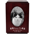 Cherry Finish Cat Urn with Oval Photo Frame shown with wood engraving