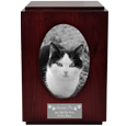 Cherry Finish Cat Urn with Oval Photo Frame shown with engraved plaque
