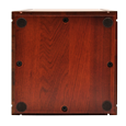 Detail shown of bottom of Wholesale Cherry Finish Grooved Vertical Wood Urn