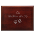 Text and clip art engraved on top of Cherry Finish Grooved Horizontal Wood