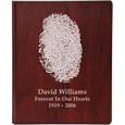 Natural fingerprint style shown on funeral guest book wooden binder