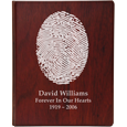 Oval Outlined fingerprint style shown on funeral guest book wooden binder
