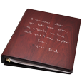 Wholesale Funeral Guest Book Wooden Binder shown with script engraving