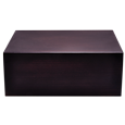 Front view of Dark Brown Wooden Box Urn, Large
