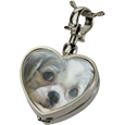 Wholesale Silver Pet Cremation Jewelry: Victorian Glass Heart Locket