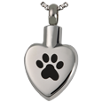 Front view of Wholesale Pet Cremation Jewelry Stainless Steel Paw My Heart