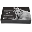 Front view of pet photo granite urn 2 inch thick shown