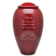 Wholesale Red Premium Brass Pet Urn engraved with text & rainbow