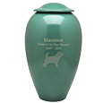 Wholesale Green Premium Brass Pet Urn engraved with text & dog silhouette