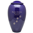 Wholesale Purple Premium Brass Pet Urn engraved with text & pawprint trail