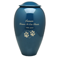 Wholesale Blue Premium Brass Pet Urn engraved with text & paw within heart