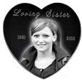 Wholesale Black Marble Heart Memorial- Medium shown without easel